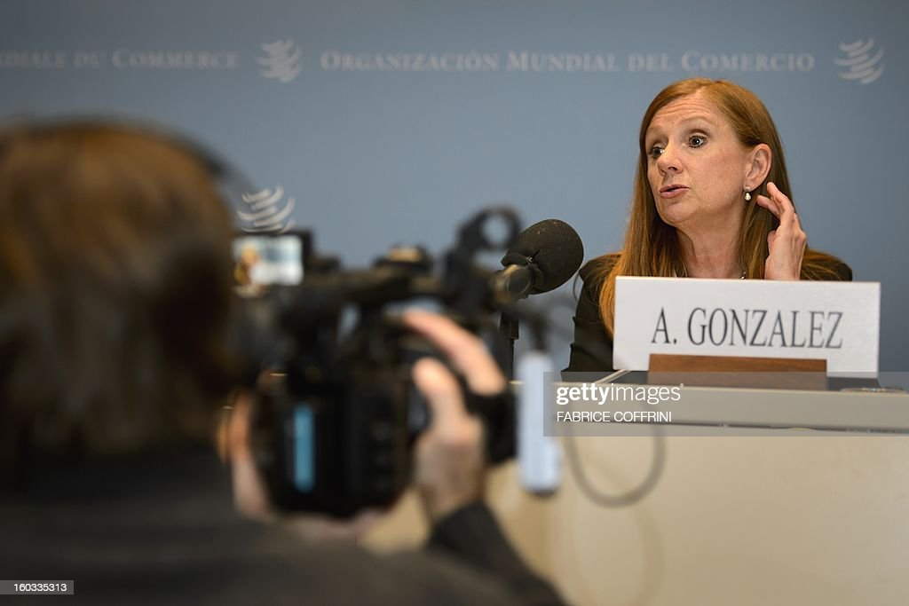 Costa Rican Foreign Trade Minister Anabel Gonzalez gestures during a press conference following a hearing on January 29, 2013 at the World Trade Organization (WTO) headquarters in Geneva. WTO begins interviewing nine candidates to replace Pascal Lamy as director general. The WTO's 158 member countries is to make its decision known by May 31.