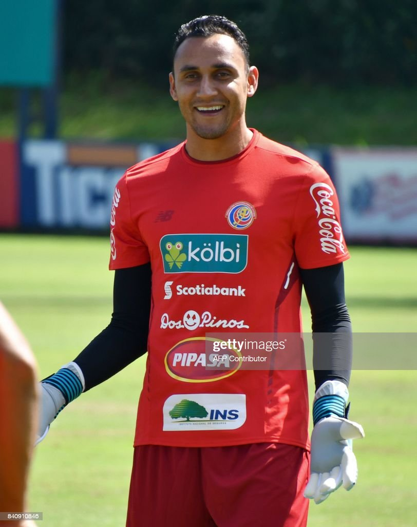 Costa Rican goalkeeper Keylor Navas smiles during a training