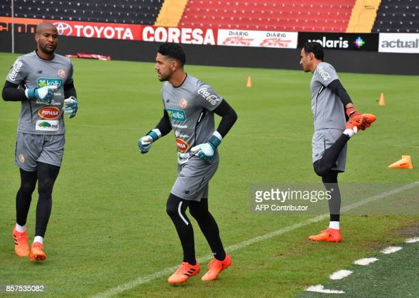 Costa Rican goalkeepers Patrick Pemberton Danny Carvajal and Keylor Navas attend a training session at the Alejandro Morera Soto Stadium in Alajuela...