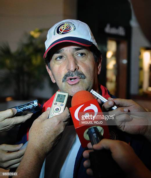 Costa Rican national football team coach Brazilian Rene Simoes speaks with journalist at a hotel in Montevideo on November 16 two days before the...