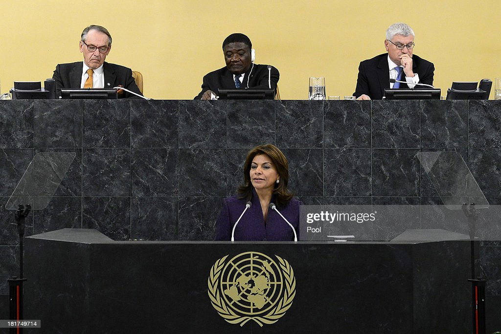 Costa Rican President Laura Chinchilla addresses the 68th United Nations General Assembly on September 24 2013 in New York City Over 120 prime...