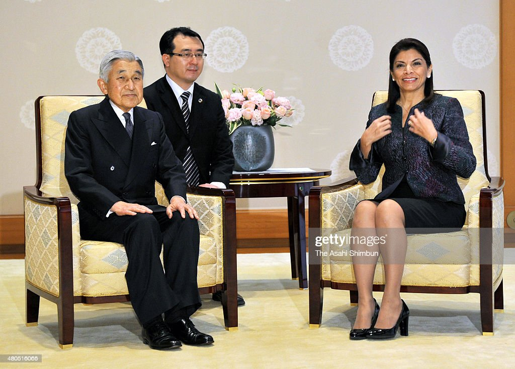 Costa Rican President Laura Chinchilla and Emperor Akihito are seen during their meeting at the Imperial Palace on December 8 2011 in Tokyo Japan