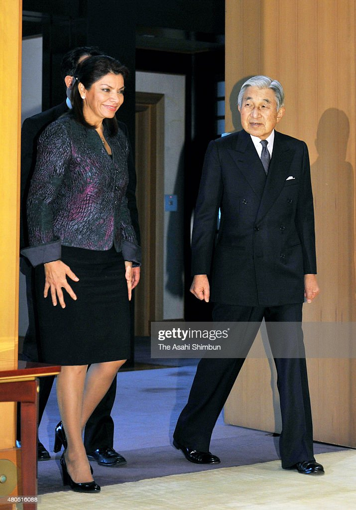 Costa Rican President Laura Chinchilla and Emperor Akihito are seen prior to their meeting at the Imperial Palace on December 8 2011 in Tokyo Japan