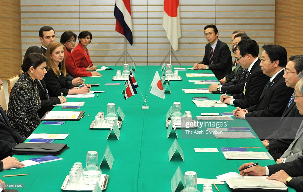 Costa Rican President Laura Chinchilla and Japanese Prime Minister Yoshihiko Noda talk during their meeting at Noda's official residence on December...
