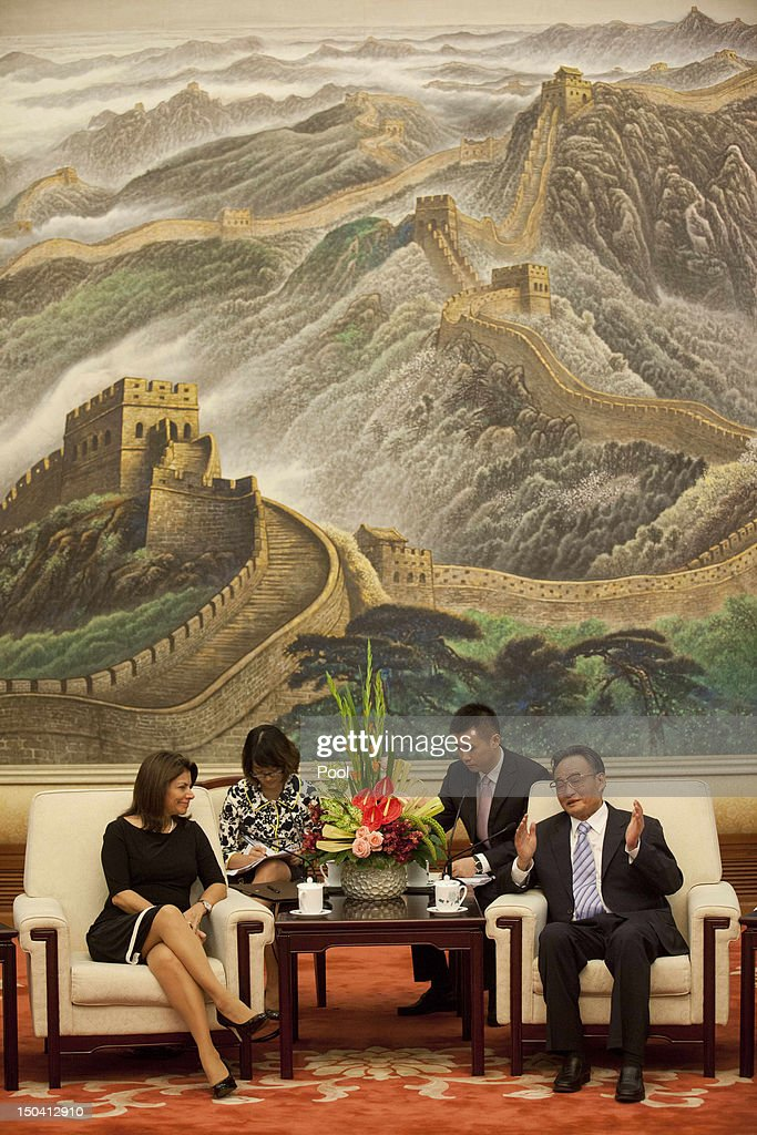 Costa Rican President Laura Chinchilla meets with Chinese Chairman and Party Secretary of the National Peoples Congress Wu Bangguo at the Great Hall...