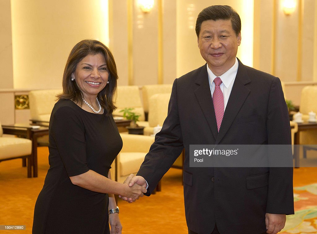 Costa Rican President Laura Chinchilla meets with Chinese Vice President Xi Jinping at the Great Hall of the People on August 17 2012 in Beijing...