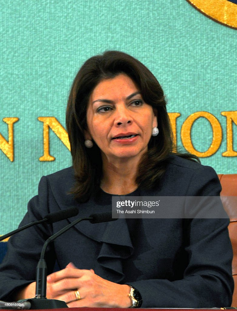 Costa Rican President Laura Chinchilla speaks during a press conference at the Japan National Press Club on December 7 2011 in Tokyo Japan
