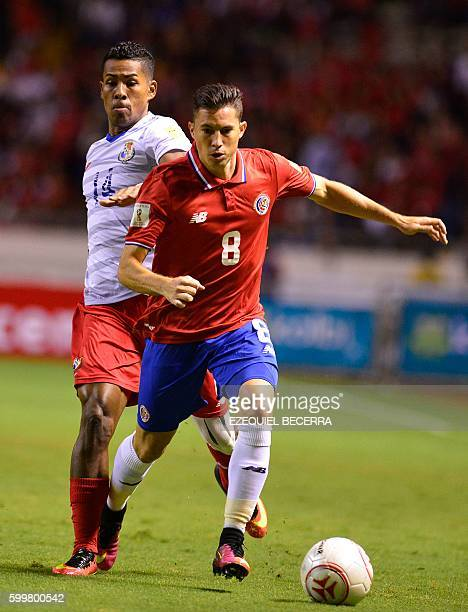 Costa Rica's Bryan Oviedo vies for the ball with Panama's Miguel Camargo during their Russia 2018 FIFA World Cup Concacaf qualifiers football match...
