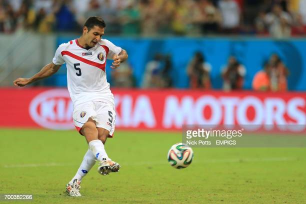Costa Rica's Celso Borges scores his penalty in the shootout