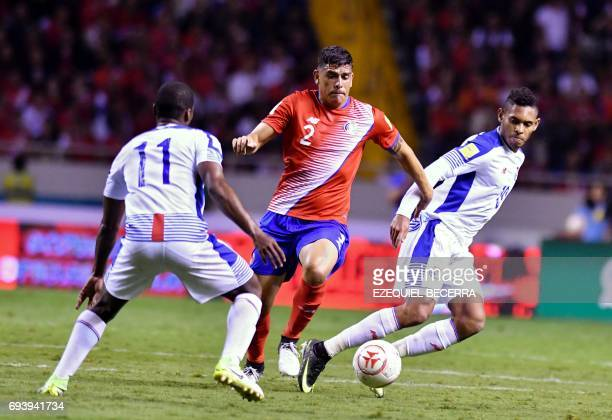 Costa Rica's football player Johnny Acosta vies for the ball with Panama's Armando Cooper and Ismael Diaz during their World Cup 2018 CONCACAF...