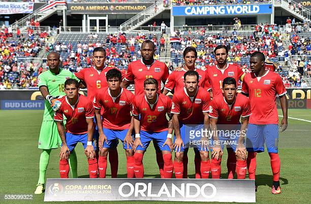 Costa Rica's football team poses before the start of the Copa America Centenario football tournament match against Paraguay in Camping World Stadium...