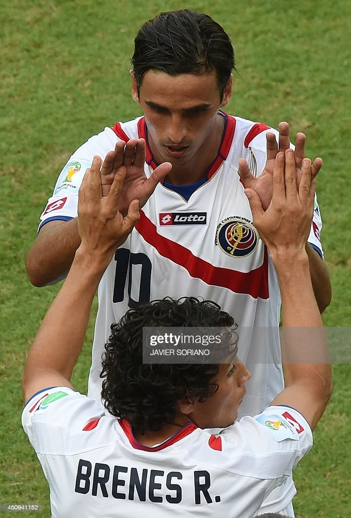 Costa Rica's forward <a gi-track='captionPersonalityLinkClicked' href=/galleries/search?phrase=Bryan+Ruiz&family=editorial&specificpeople=714489 ng-click='$event.stopPropagation()'>Bryan Ruiz</a> (top) is substituted by Costa Rica's forward <a gi-track='captionPersonalityLinkClicked' href=/galleries/search?phrase=Randall+Brenes&family=editorial&specificpeople=2275484 ng-click='$event.stopPropagation()'>Randall Brenes</a> during a Group D football match between Italy and Costa Rica at the Pernambuco Arena in Recife during the 2014 FIFA World Cup on June 20, 2014