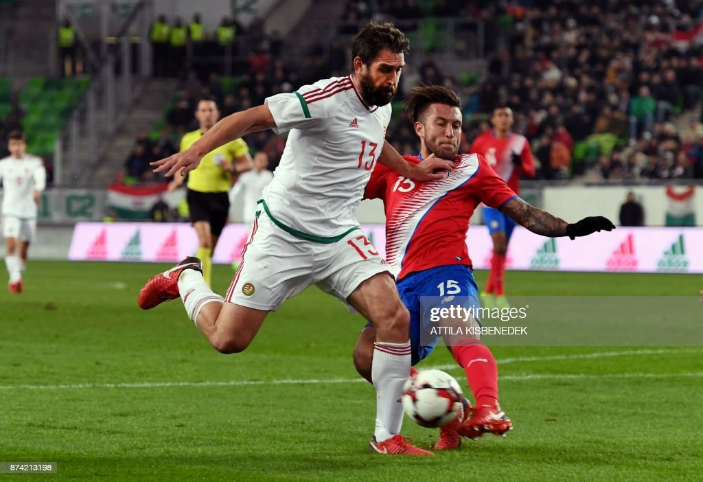 Costa Rica's Francisco Calvo (R) vies with Hungary's Daniel Bode vie for the ball during the international friendly football match Hungary v Costa Rica in Budapest, on November 14, 2017. /