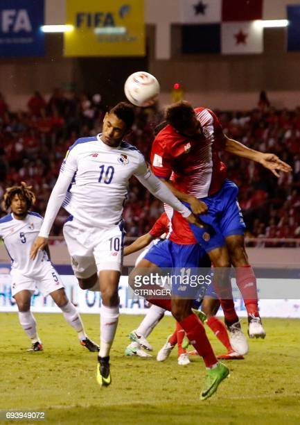 Costa Ricas Giancalo Gonzalez fights for control of the ball with Panamas Ismael Diaz during their World Cup 2018 CONCACAF qualifiers football match...