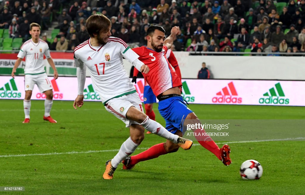 Costa Rica's Giancarlo Gonzalez (R) vies with Hungary's David Markvart vie for the ball during the international friendly football match Hungary v Costa Rica in Budapest, on November 14, 2017. /