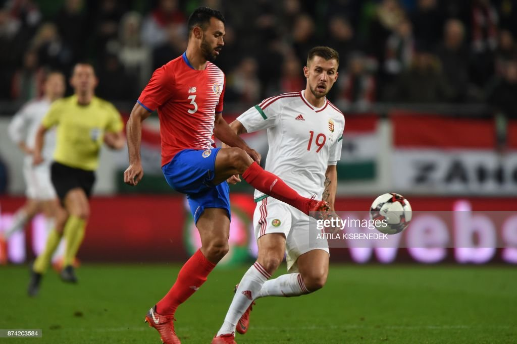 Costa Rica's Giancarlo Gonzalez (L) vies with Hungary's Tamas Priskin (R) during the international friendly football match Hungary against Costa Rica in Budapest on November 14, 2017. /