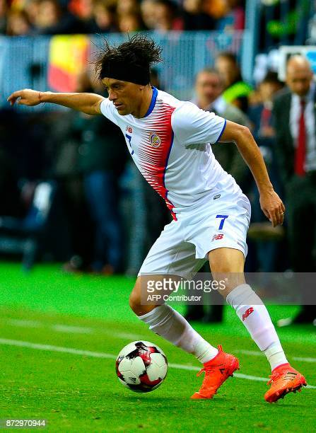 Costa Rica's midfielder Christian Bolanos controls the ball during the international friendly football match Spain against Costa Rica at La Rosaleda...