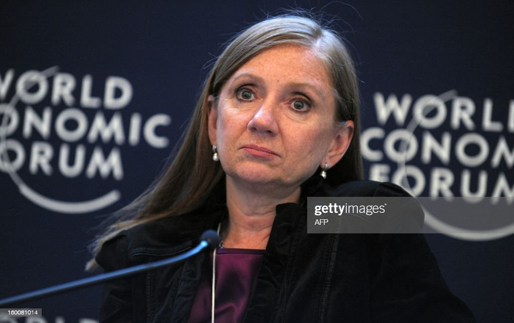 Costa Rica's Minister for Foreign Trade Anabel Gonzalez attends a session at the World Economic Forum in Davos on January 26, 2013. AFP PHOTO / ERIC PIERMONT