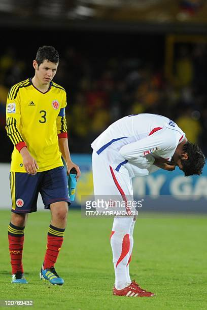 Costa Rica's player Ariel Contreras reacts after losing against Colombia during the FIFA's Under20 World Cup Round of 16 football match held at the...