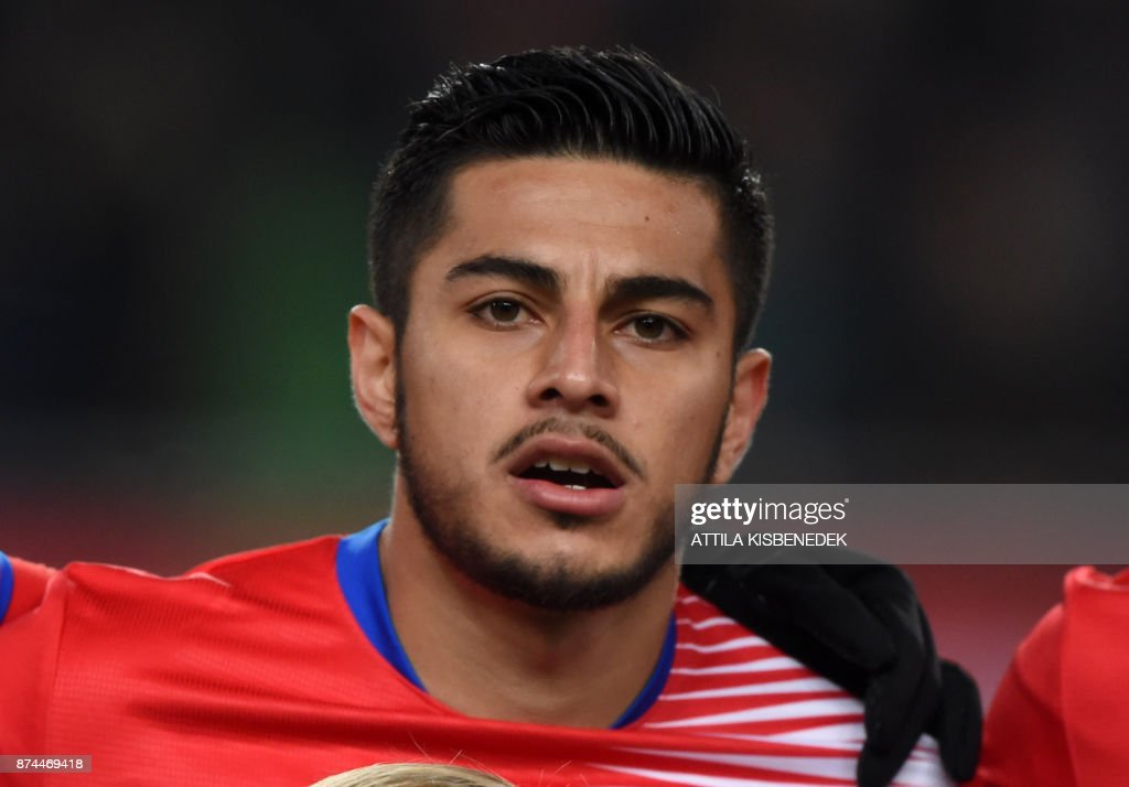 Costa Rica's Ronald Matarrita listens to the national anthem prior to a friendly football match against Hungary on Nocember 14, 2017 in Groupama Arena of Budapest.