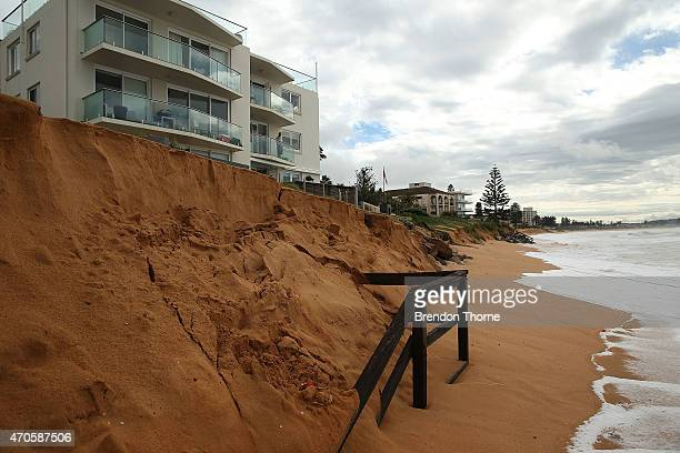 Costal erosion is seen at Narrabeen beach due to the wild weather on April 22 2015 in Sydney Australia Three people have died and more than 200000...