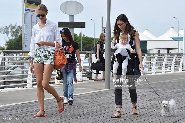 Costance Jablonsky and Valentina Micchetti are seen arriving at Venice Airport during The 71st Venice International Film Festival on August 31 2014...