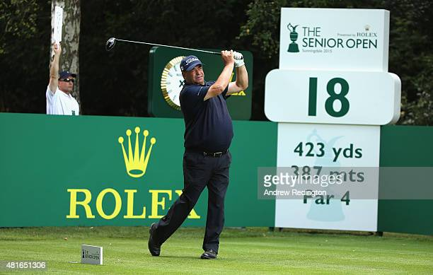 Costantino Rocca of Italy hits his teeshot on the 18th hole during the first round of The Senior Open Championship at Sunningdale Golf Club on July...