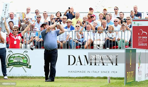 Costantino Rocca of Italy hits his teeshot on the first hole during the second round of the 72nd Open d'Italia at Golf Club Milano on September 18...