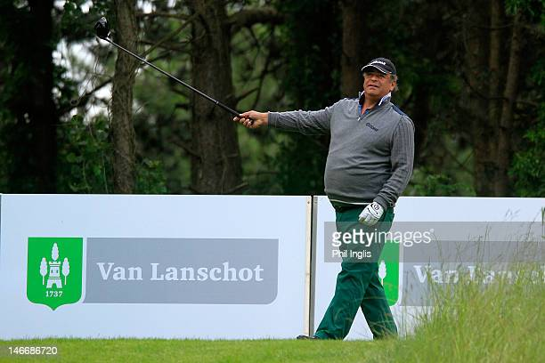 Costantino Rocca of Italy reacts to a poor tee shot during the first round of the Van Lanschot Senior Open played at Royal Haagsche Golf and Country...
