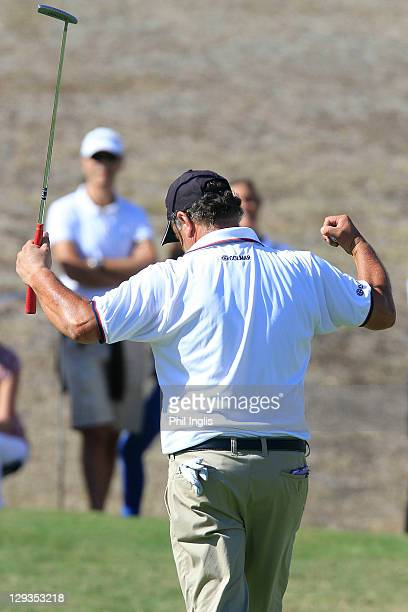 Costantino Rocca of Italy reacts to his birdie putt on the 18th hole during the final round of the Benahavis Senior Masters played at La Quinta Golf...