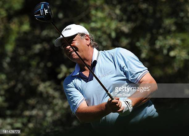 Costantino Rocca of Italy tees off from the 1st hole during the second round of the French Riviera Masters played over the Chateau Course Terre...