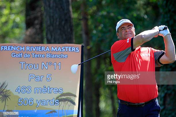 Costantino Rocca of Italy watches his drive during the first round of the French Riviera Masters played on the Chateau course Terre Blanche Resort on...