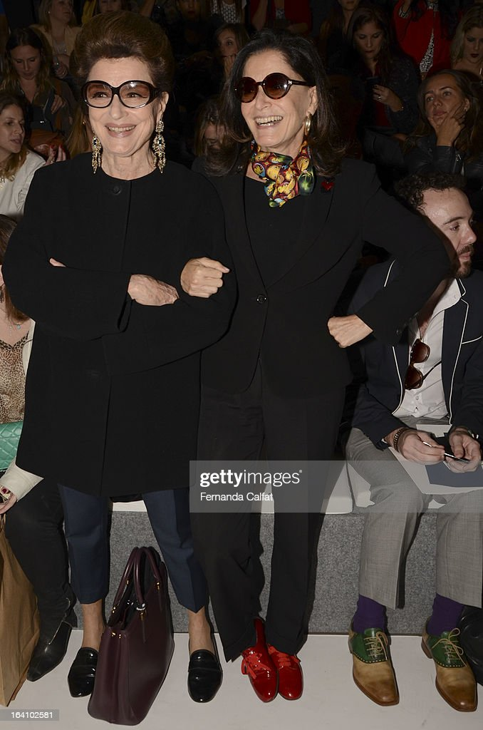 Costanza Pascolato and Gloria Kalil at the Forum show during Sao Paulo Fashion Week Summer 2013/2014 on March 19, 2013 in Sao Paulo, Brazil.
