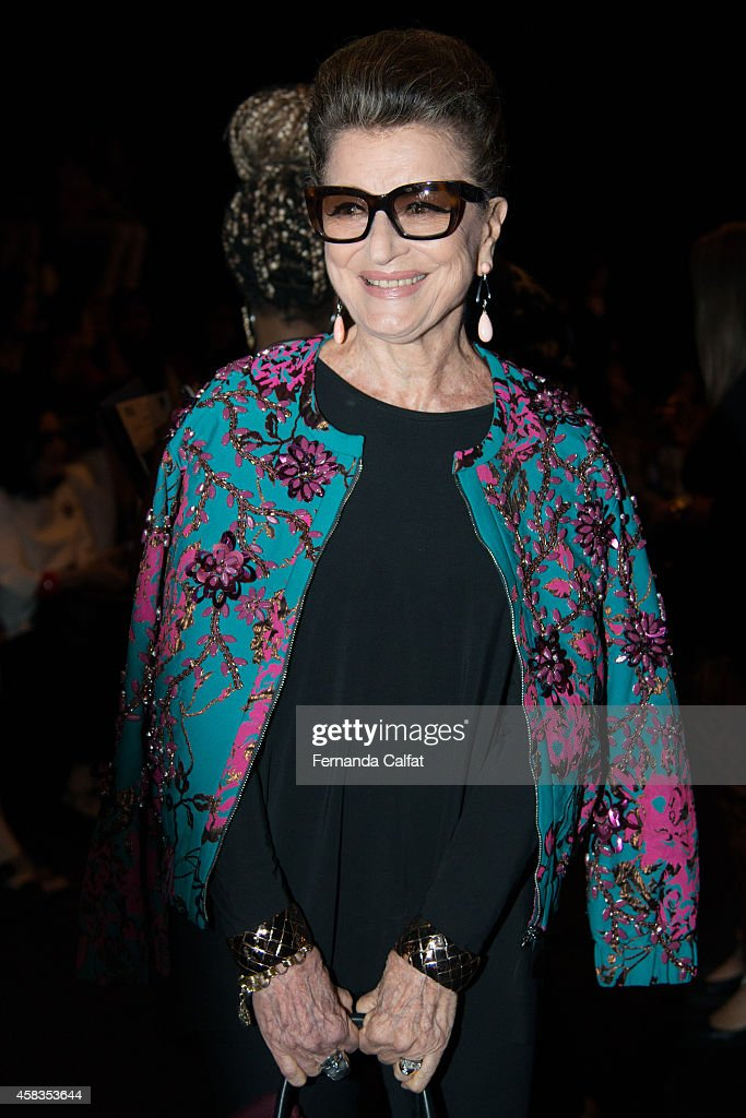 Costanza Pascolato attends the Victor Dzenk fashion show during Sao Paulo Fashion Week Winter 2015 at Parque Candido Portinari on November 3 2014 in...