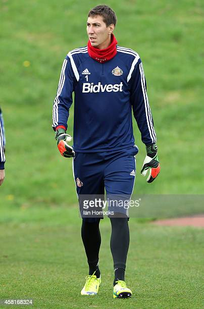 Costel Pantilimon during a Sunderland AFC Training Session at The Academy of Light on October 31 2014 in Sunderland England