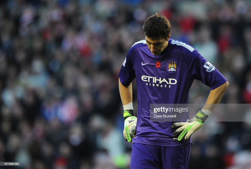 Costel Pantilimon of Manchester City reacts during the Barclays Premier League match between Sunderland and Manchester City at Stadium of Light on November 10, 2013 in Sunderland, England.