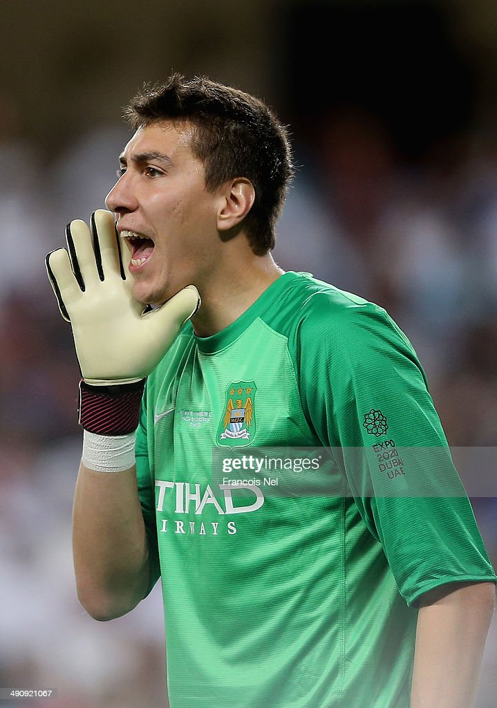 Costel Pantilimon of Manchester City reacts during the friendly match between Al Ain and Manchester City at Hazza bin Zayed Stadium on May 15, 2014 in Al Ain, United Arab Emirates.