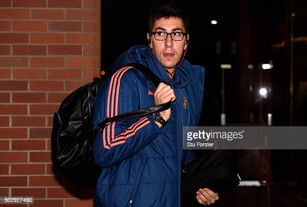 Costel Pantilimon of Sunderland arrives for the Barclays Premier League match between Sunderland and Liverpool at Stadium of Light on December 30...