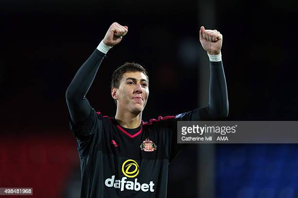 Costel Pantilimon of Sunderland celebrates after the Barclays Premier League match between Crystal Palace and Sunderland at Selhurst Park on November...