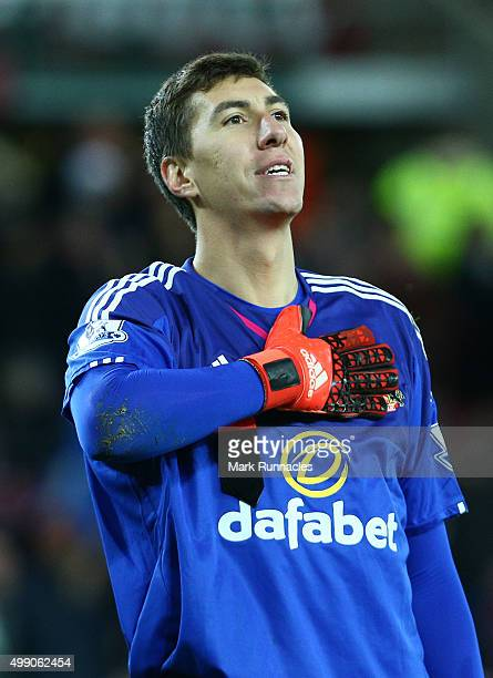 Costel Pantilimon of Sunderland celebrates at the end of the game after keeping a clean sheet during sunderland 20 victory during the Barclays...