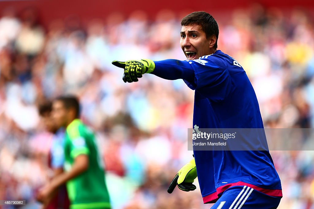 Costel Pantilimon of Sunderland gestures during the Barclays Premier League match between Aston Villa and Sunderland at Villa Park on August 29, 2015 in Birmingham, England.