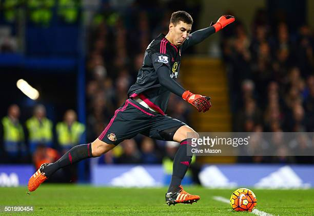 Costel Pantilimon of Sunderland in action during the Barclays Premier League match between Chelsea and Sunderland at Stamford Bridge on December 19...