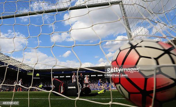 Costel Pantilimon of Sunderland is beaten by Marc Albrighton of LEicester City's shot during the Barclays Premier League match between Leicester City...