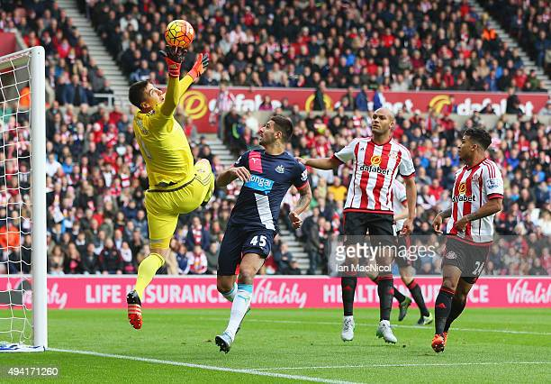 Costel Pantilimon of Sunderland makes a save during the Barclays Premier League match between Sunderland and Newcastle United at Stadium of Light on...