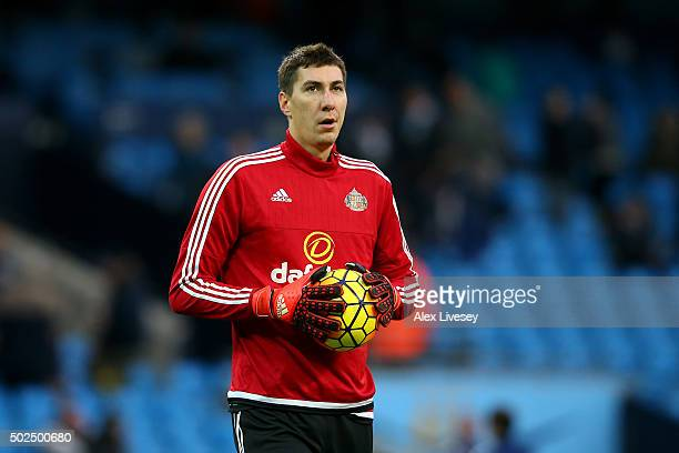 Costel Pantilimon of Sunderland warms up prior to during the Barclays Premier League match between Manchester City and Sunderland at the Etihad...