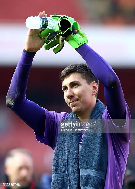 Costel Pantilimon of Watford celebrates victory after the Emirates FA Cup sixth round match between Arsenal and Watford at Emirates Stadium on March...