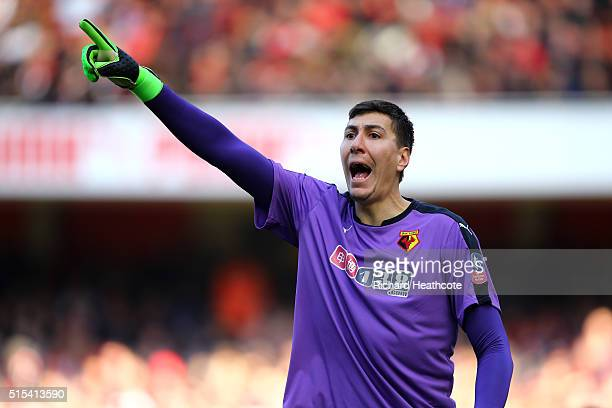 Costel Pantilimon of Watford in action during The Emirates FA Cup Sixth Round match between Arsenal and Watford at the Emirates Stadium on March 13...