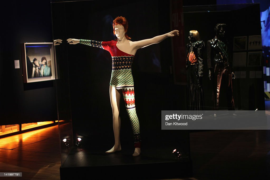 A costume designed by Japanese designer Kansai Yamamoto for David Bowie's Ziggy Stardust character is display at the Victoria and Albert museums' new major exhibition, 'British Design 1948-2012: Innovation In The Modern Age' on March 28, 2012 in London, England. The exhibition showcases some of the most iconic product design, fashion, furniture, graphics, architecture and fine art from the last 60 years, and opens to the public from March 31, 2012.