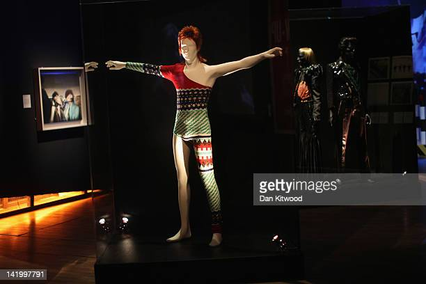 A costume designed by Japanese designer Kansai Yamamoto for David Bowie's Ziggy Stardust character is display at the Victoria and Albert museums' new...