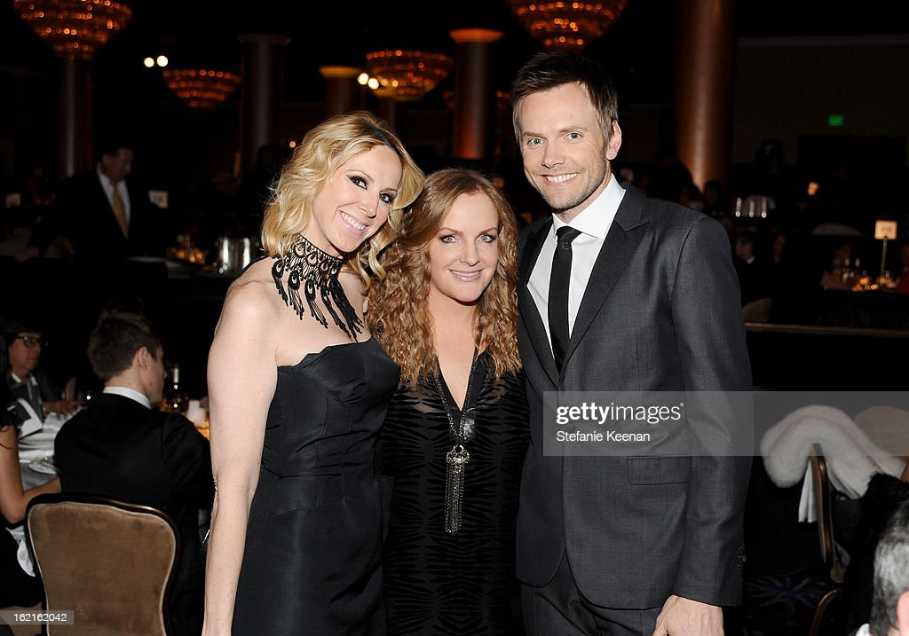 Costume Designer Alison Miller, Executive Producer Costume Designers Guild Awards, JL Pomeroy and Host Joel McHale attend the 15th Annual Costume Designers Guild Awards with presenting sponsor Lacoste at The Beverly Hilton Hotel on February 19, 2013 in Beverly Hills, California.